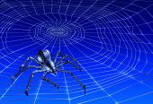 stock photo of webcrawler  - 3d render of a webcrawling cyber - JPG