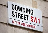 image of prime-minister  - The street sign for Downing Street in London - JPG