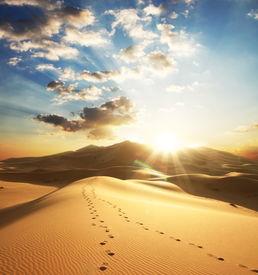 picture of sahara desert  - view of the Sahara desert in the sunny day  - JPG