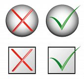 picture of check mark  - vector check marks in box and ball  - JPG