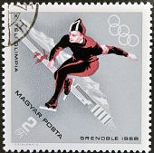A stamps printed in Hungary showing an athlete's speed skatingWinter Olympic sports in Grenoble 1968