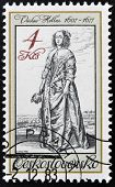 A stamp printed in Czechoslovakia shows lady by Vaclav Hollar
