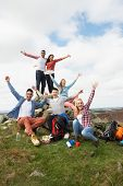 foto of 16 year old  - Group Of Young People Hiking In Countryside - JPG