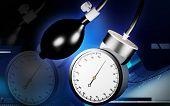 foto of sphygmomanometer  - Digital illustration of sphygmomanometer in colour background - JPG