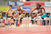 LINZ, AUSTRIA - JANUARY 31 Loreal Smith (#161 USA) places 3rd in women's 60m hurdles event on Januar