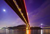 picture of tsing ma bridge  - Bottom view of the suspension bridge - JPG