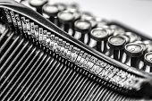 image of qwerty  - Black and white close-up view of an old typewriter ** Note: Visible grain at 100%, best at smaller sizes - JPG