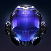 picture of spaceman  - Fiction spaceman costume metal helmet with neon light elements - JPG