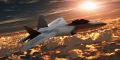 Постер, плакат: F 22 Fighter Jet At Sunset