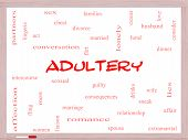 stock photo of adultery  - Adultery Word Cloud Concept on a Whiteboard with great terms such as sexual affair lies and more - JPG