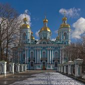stock photo of sankt-peterburg  - Nikolsky Cathedral on a sunny spring day Sankt - JPG