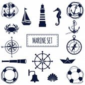 image of marines  - Set of flat marine elements - JPG