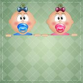 stock photo of twin baby girls  - illustration of twin baby boy and baby girl for birth - JPG