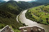 Ruins Of The Strecno Castle And Vah River, Slovakia