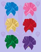 picture of sikh  - an illustration of colorful bhangra style turbans with sikh symbol on a lilac background - JPG