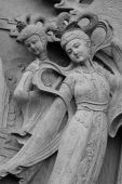 pic of chinese unicorn  - Beautiful Chinese angel at daoism temple by stone carving - JPG