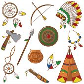 pic of wigwams  - Doodle set with native american elements isolated - JPG