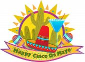 stock photo of sombrero  - Happy Cinco De Mayo banner with sombrero - JPG