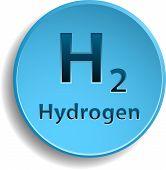 foto of hydrogen  - Blue hydrogen circle button - JPG