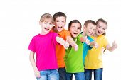 picture of pretty-boy  - Group of happy kids with thumb up sign in colorful t - JPG