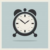pic of analog clock  - Alarm Clock on Retro Blue Background Vector - JPG