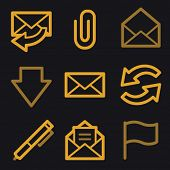 E-mail web icons, gold line set