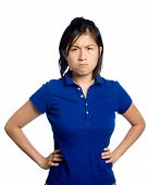 image of asian woman  - Asian girl is upset and puts her hands on hips - JPG
