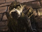 pic of gargoyles  - Dark brown and green gargoyle in York - JPG