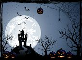 foto of cemetery  - Halloween night background with castle cemetery and pumpkins illustration - JPG