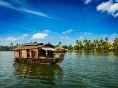 picture of houseboats  - Travel tourism Kerala background  - JPG
