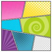 image of blank  - Comics pop art style blank layout template with clouds beams and dots pattern background vector illustration - JPG