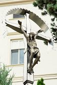 foto of crucifixion  - Crucifixion of Jesus Christ placed in the castle courtyard in Nitra city Slovak republic central Europe - JPG