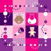 foto of girl toy  - Vector Illustration of baby girl quilt - JPG