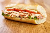 image of tomato sandwich  - Smoked salmon sandwich with tomato mozzarella cheese lettuce and mayonnaise - JPG