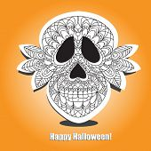 image of day dead skull  - Day of the Dead Sugar Skull Vector halloween card - JPG