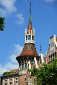 image of masterpiece  - Spire of the tower in Casa Terrades (Casa de les Punxes).  Casa Terrades is an Modernism masterpiece by architect Josep Puig i Cadafalch at Eixample District in Barcelona, Catalonia, Spain. - JPG
