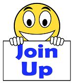 stock photo of joining  - Join Up On Sign Showing Joining Membership Register - JPG