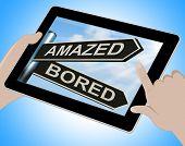 stock photo of amaze  - Amazed Bored Tablet Showing Dull And Amazing - JPG