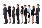 foto of unemployed people  - Business people standing in queue over white background - JPG