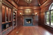 Elegant Library With Black Fireplace