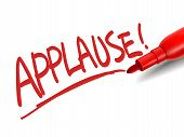picture of applause  - the word applause with a red marker over white - JPG