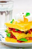 stock photo of posh  - polenta with vegetables and poshed egg close up - JPG