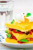 foto of posh  - polenta with vegetables and poshed egg close up - JPG