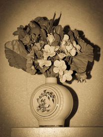 picture of yesteryear  - vintage yesteryear bowl of artificial flowers with vignetting - JPG