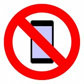 picture of banned  - illustration of a ban on smartphones  - JPG