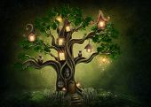 picture of sweet dreams  - Fantasy tree house in forest - JPG