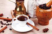 stock photo of hot coffee  - sweet hot drink  - JPG