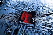 picture of maliciousness  - Symbol of a red trojan horse on blue computer circuit board background - JPG