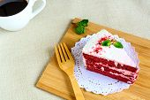 foto of red velvet cake  - Close up of raspberry Red velvet cake on table  - JPG