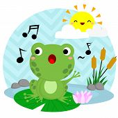 image of cute frog  - a vector of a frog Singing on the water - JPG